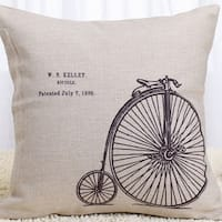 Vintage Home Decor Cotton Linen Throw Pillow Cover W.s Kelley Bicycle