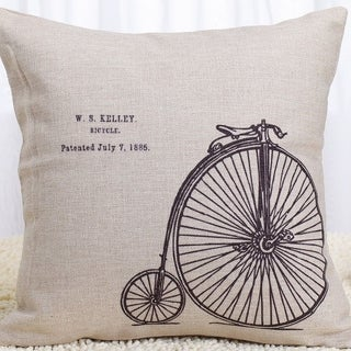 W.S. Kelly Bicycle Cotton Linen Pillow Cover 18 Inch - Black/Tan