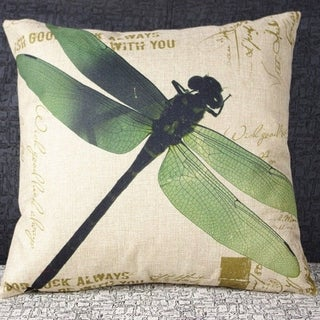 Vintage Home Decor Cotton Linen Throw Pillow Cover Creative Dragon Fly Painting