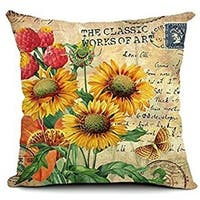 Vintage Home Decor Cotton Linen Throw Pillow Cover Sunflower Painting - Tan/Yellow/Red