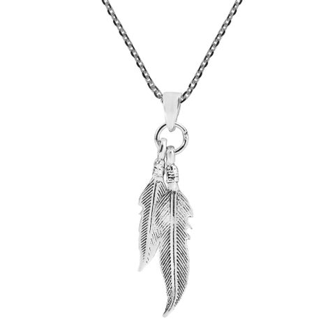 Handmade Amazing Double Feather Sterling Silver Dangle Necklace (Thailand)