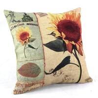 Vintage Home Decor Cotton Linen Throw Pillow Cover Sunflower
