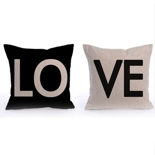 LOVE Throw Throw Pillow Cover Cover  Cushion Black White Cotton