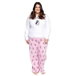 Xehar Womens Plus Size Fleece Penguins Pajamas Pjs Set (2 Piece Set)