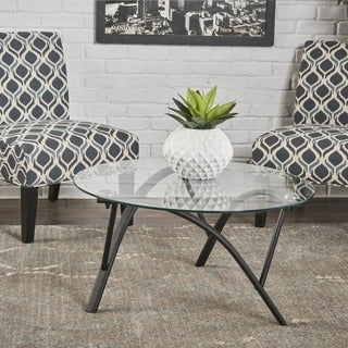Marigold Modern Round Glass Coffee Table By Christopher Knight Home