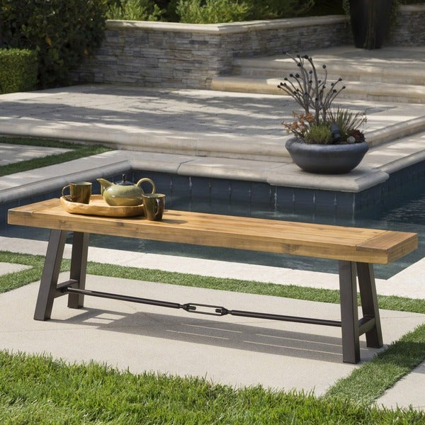 Shop Catriona Outdoor Acacia Wood Rustic Bench By Christopher Knight