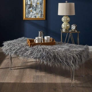 Zaeden Glam Faux Fur Rectangle Ottoman Bench by Christopher Knight Home