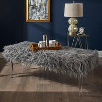 Shop Karren Glam Rectangle Faux Fur Ottoman Bench By