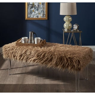 Zaeden Glam Faux Fur Rectangle Ottoman Bench by Christopher Knight Home (Option: Taupe + Clear)