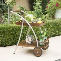 Huron Outdoor Dark Acacia Wood Bar Cart by Christopher Knight Home