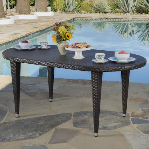 Dominica Outdoor Oval Wicker 69-inch Wicker Dining Table by Christopher Knight Home