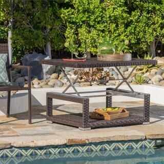 Laval Outdoor Aluminum Wicker Rectangular Lift-top Coffee Table by Christopher Knight Home
