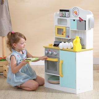 Teamson Kids - Florence Small Play Kitchen - White / Green & Yellow