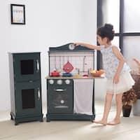 Teamson Kids - Provence Big Play Kitchen - Dark Green / Oak Grain