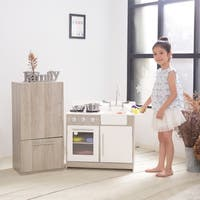 Teamson Kids - Soho Big Play Kitchen - Oak Grain / Silver
