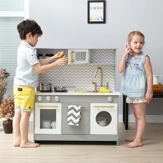 Teamson Kids - Bermingham Big Play Kitchen - Grey / White