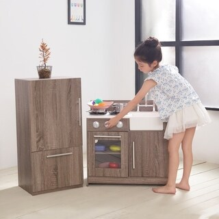 Teamson Kids - Soho Big Play Kitchen - Dark Oak Grain / Silver
