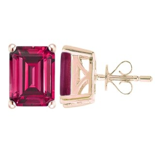 18KT Rose Gold Over Sterling Silver Octagone Ruby Stud Earring - Red