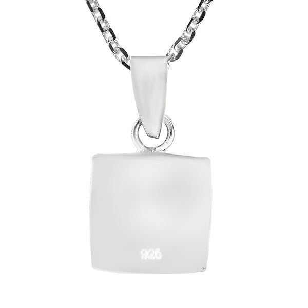 Sterling Silver Mother of Pearl Shell Oval and Square Pendant 18mm