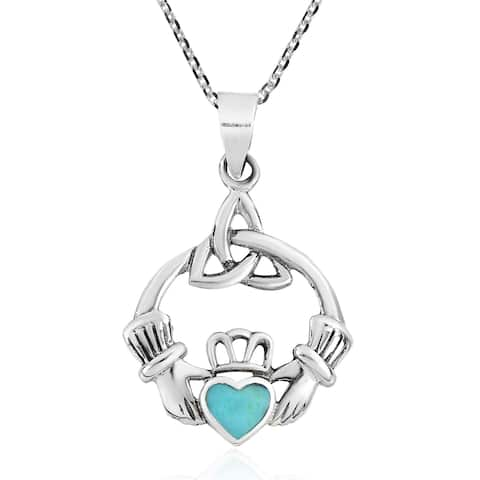 Handmade Heart Celtic Claddagh Sterling Silver Necklace (Thailand)