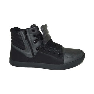 Mecca Men's High Top Lace-Up Fashion Sneakers with Side Zipper-ME-7095