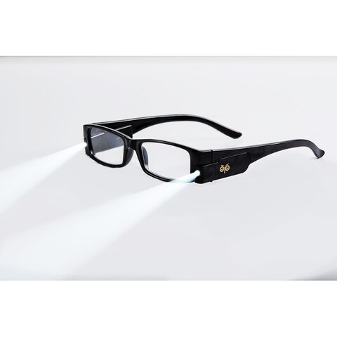 Multi Strength Eyeglass LED Reading Glasses Black L Optic By Finess