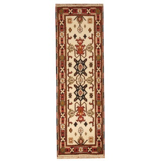 Handmade Herat Oriental Indo Hand-knotted Tribal Kazak Wool Runner (2'2 x 6'6)