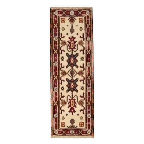 Handmade One-of-a-Kind Kazak Wool Runner (India) - 2'2 x 6'