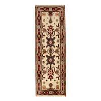 Handmade Herat Oriental Indo Hand-knotted Tribal Kazak Wool Runner (India) - 2'2 x 6'