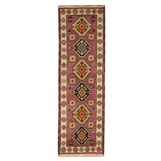 Handmade Herat Oriental Indo Hand-knotted Tribal Kazak Wool Runner (2'1 x 6'8)|https://ak1.ostkcdn.com/images/products/18104238/P24260991.jpg?impolicy=medium