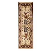 Handmade Herat Oriental Indo Hand-knotted Tribal Kazak Wool Runner (2'2 x 6'7)