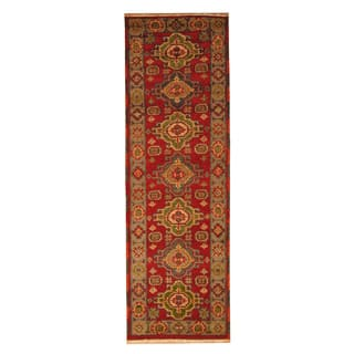 Handmade Herat Oriental Indo Hand-knotted Tribal Kazak Wool Runner (2'2 x 6'7)|https://ak1.ostkcdn.com/images/products/18104278/P24261006.jpg?impolicy=medium