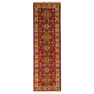 Handmade Herat Oriental Indo Hand-knotted Tribal Kazak Wool Runner (2'1 x 6'8)