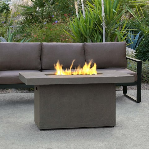 Ventura Rectangle Gas Fire Table Glacier Gray by Real Flame