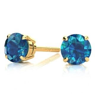 1 1/2 Carat TDW Blue Diamond Stud Earrings In 14 Karat Yellow Gold