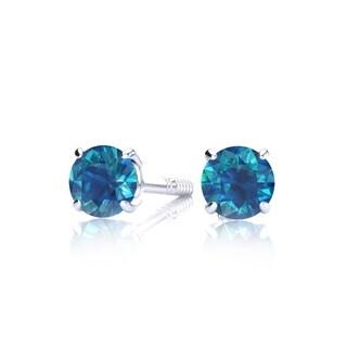 1/4 Carat TDW Blue Diamond Stud Earrings In 14 Karat White Gold