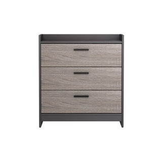 Central Park Chest with 3 drawers in Java Brown with Sonoma Finish