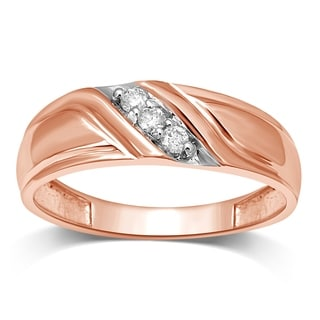 Unending Love Men's 10k Rose Gold 1/10ct TDW Diamond Slant Wedding Band - Pink