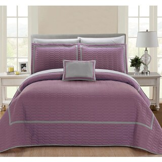 Chic Home Cummington Hotel Collection Plum Two Tone 8 Piece Quilt Set and Sheet Set