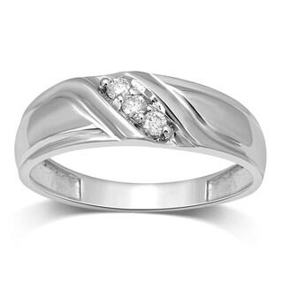 Unending Love Men's 10k White Gold 1/10 ctw Diamond Slant Wedding Band