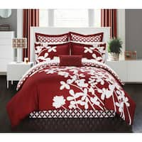 Chic Home Fritzie Red Floral Print Reversible 11 Piece Comforter Set Bed in a Bag