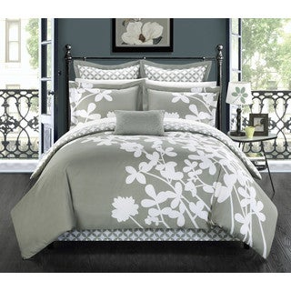Chic Home Fritzie Grey Floral Print Reversible 11 Piece Comforter Set Bed in a Bag- King Size