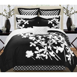 Chic Home Fritzie Black and White Floral Print Reversible 11 Piece Comforter Set Bed in a Bag