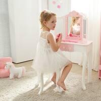 Teamson Kids - Gisele Vanity Kids Table & Stool Set - Star