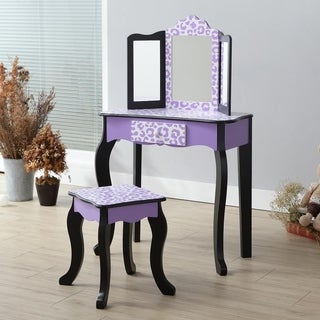 Teamson Kids - Fashion Gisele Play Vanity Set - Leopard Prints - Purple / Black - N/A