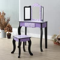 Teamson Kids - Gisele Vanity Kids Table & Stool Set - Leopard