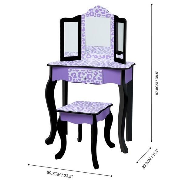 Marvelous Shop Teamson Kids Fashion Gisele Play Vanity Set Leopard Cjindustries Chair Design For Home Cjindustriesco