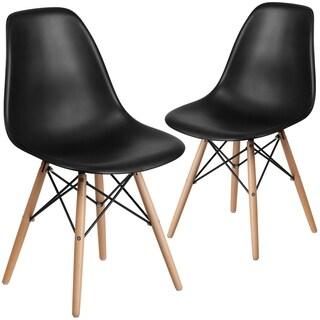 2 Pk. Elon Series Plastic Chair with Wood Base