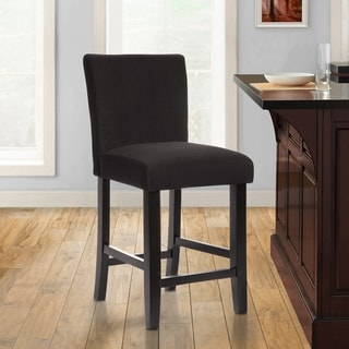Black Fabric Upholstered Wooden 24-inch Parsons Chairs (Set of 2)