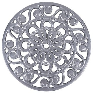 Decorative Cast Iron Metal Trivet by Trademark Innovations (Silver)